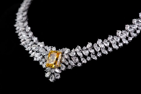 Diamond and yellow sapphire custom made necklace