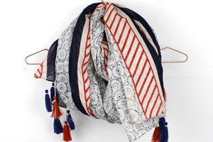 Blue and Red Flower Print Scarf