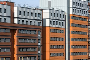 Aston University Residential Block.  A close up of the Terracotta Tiles and Trespa Panels.