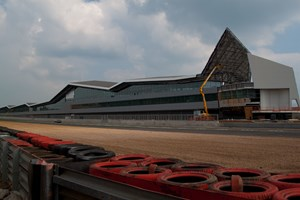 Silverstone Race Track, Image of work in progress, completing the Bullnoses and Soffits.