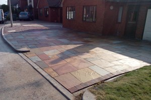 Indian sandstone driveway in Wirral, colour rippon buff.