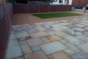 Indian sandstone patio, walling, new lawn in Ellesmere Port, colour desert sand.