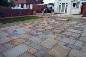 Indian sandstone patio, walling, new lawn, landscaping in Ellesmere Port, colour desert sand.