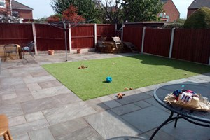 Indian sandstone patio, artificial grass in Ellesmere Port, colour pennant grey.