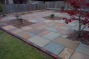 Indian sandstone patio in Ellesmere Port, colour rippon buff.