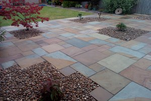 Indian sandstone patio and landscaping in Ellesmere Port, colour rippon buff.