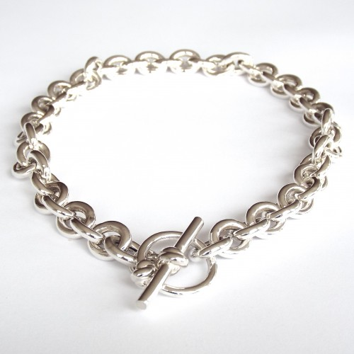 Chunky Sterling Silver Link Necklace With Toggle Mmzs Jewellery Design