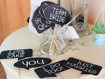 Personalised photo booth props, photo booth themes