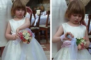 Flower girl's ivory bridesmaid dress.
