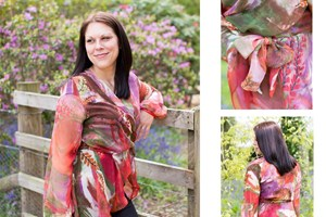 Wrap chiffon ladies blouse with peplum.
