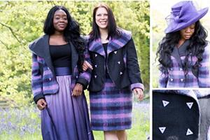 Mix n match organic bamboo silk circular skirt.  Organic bamboo circular skirt with unique print.  Mohair pencil skirt.  Both with complementing mohair jackets with contrast re-claimed denim.