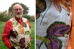 Nick de Rothschild in his bespoke waistcoat created with upcycled Zoffany fabric.