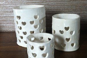 Candle holders, set of 3. Available in white, blue & black<br/> <a class='button' target='blank' href='https://www.paypal.com/cgi-bin/webscr?cmd=_s-xclick&hosted_button_id=V5B5FHXWAAKGW'>Buy now</a>