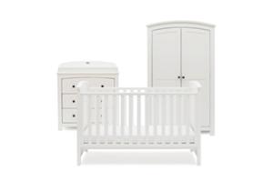 <h2>Ashby Style<br/></h2><p><span>Description:</span><br/>Cot Bed, Double Wardrobe, Dresser</p><p><span>Colours:</span><br/>White</p><p><span>Price:</span><br/>Cot Bed (£350) Double Wardrobe (£400) Dresser (£400) </p>