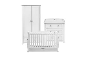 <h2>Nostalgia<br/></h2><p><span>Description:</span><br/>Cot Bed, Double Wardrobe, Dresser</p><p><span>Colours:</span><br/>Soft Antique White</p><p><span>Price:</span><br/>Cot Bed (£450) Double Wardrobe (£600) Dresser (£500)  Windsor/Nostalgia Sleigh Cot Bed (£550)</p>