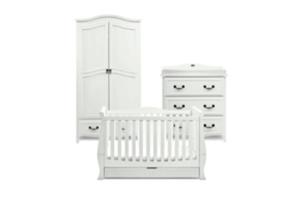 <h2>Windsor<br/></h2><p><span>Description:</span><br/>Cot Bed, Double Wardrobe, Dresser</p><p><span>Colours:</span><br/>Soft Antique White</p><p><span>Price:</span><br/>Cot Bed (£550) Double Wardrobe (£650) Dresser (£550)</p>