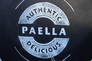 Paella chalkboard drawn for a private client and mounted on the front of the pop up gazebo, click to see more