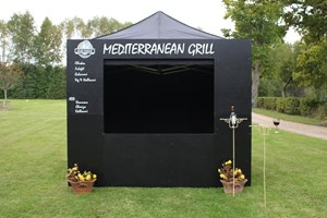 3m x 3m pop up gazebo with customisable chalk board frontage.