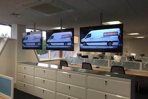 A Ceiling Mounted Digital Signage Solution.