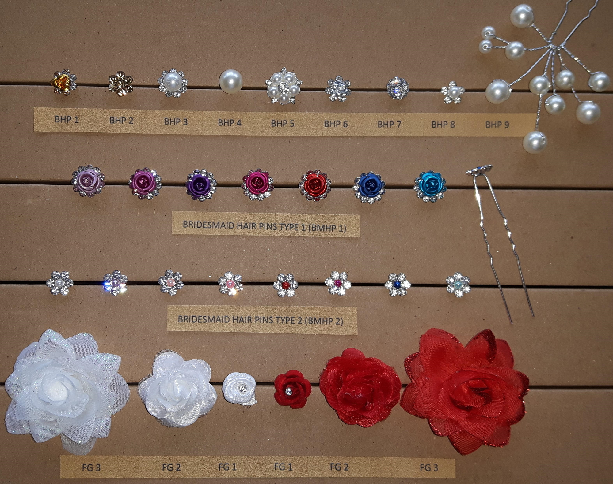 <strong>BRIDE  BRIDESMAID  and  FLOWER GIRL HAIR PINS </strong>