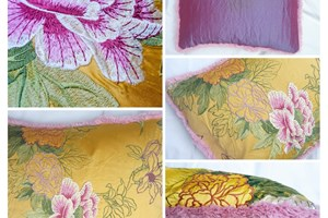 Manuel Canovas 'Candice Or' embroidered silk, fluffy pink piping, purple backing 40cm x 50cm