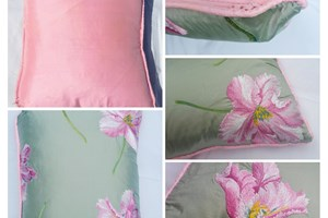 Manuel Canovas 'Feria' embroidered parrot tulips on green silk, pale pink silk piping, pink silk backing 38cm x 48cm
