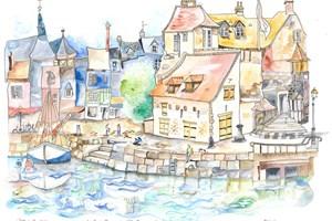 Normandy, Le Quai Charmant d'Honfleur avec La Lieutenance <iframe frameborder='no' scrolling='no' src='http://www.maisonartsoleil.com/pp/1267'  width='250px'  height='145px' ></iframe>