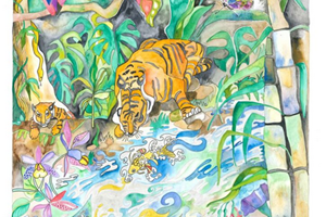 The Magical River Tigers greetings card<iframe frameborder='no' scrolling='no' src='https://www.maisonartsoleil.com/pp/1291'  width='250px'  height='145px' ></iframe>