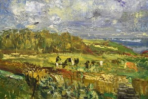Trevalga with cows and a pig in the field /oil on board / 122x 183 cms / 2018