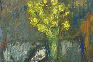 Daffodils with fox skull  oil on board 92x92cms  2014