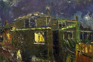 Night painting at the back of the house 