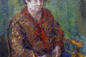 Portrait of Ros seated  oil on board 92x92cms  2012