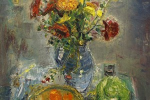 Still life with flowers  oil on board 92x92cms  2011