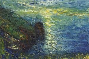 Sun path at Trevalga (Icarus falling)  oil on board 61x92cms  2010-13