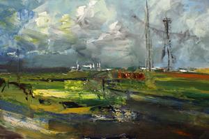The air traffic control mast             oil on canvas    122x244cms    2015