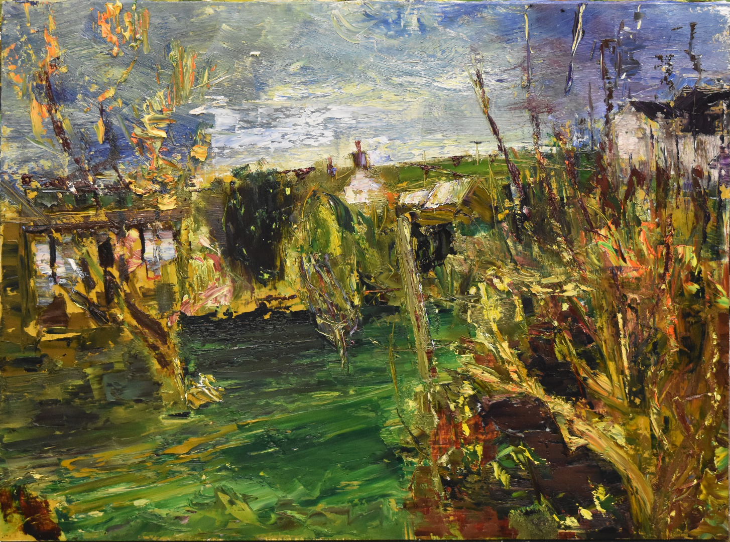 Garden , early  spring /oil on board / 92 x122 cms /2019