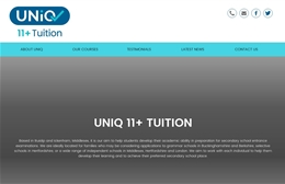 Uniq 11+ Tuition - Tutoring website design by Toolkit Websites, Southampton