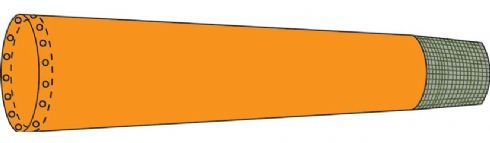 Lace-on Dayglow Orange Polyester Windsock with gauze tailcone.