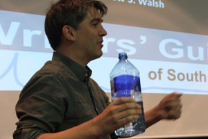 Andrew Walsh leading a videogames writing workshop in South Africa.