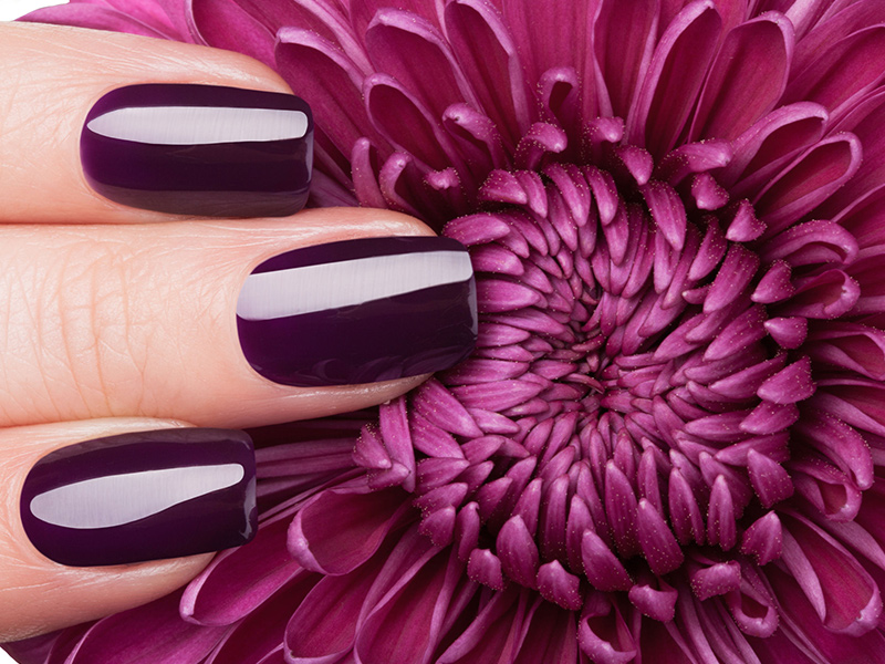 Nails with purple Gel polish