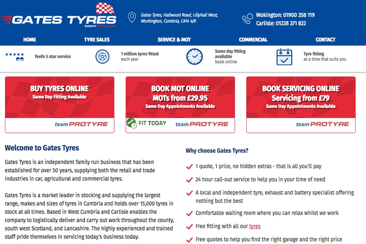 Welcome To Gates Tyres : Gates Tyres, MOT, Car Servicing, Workington