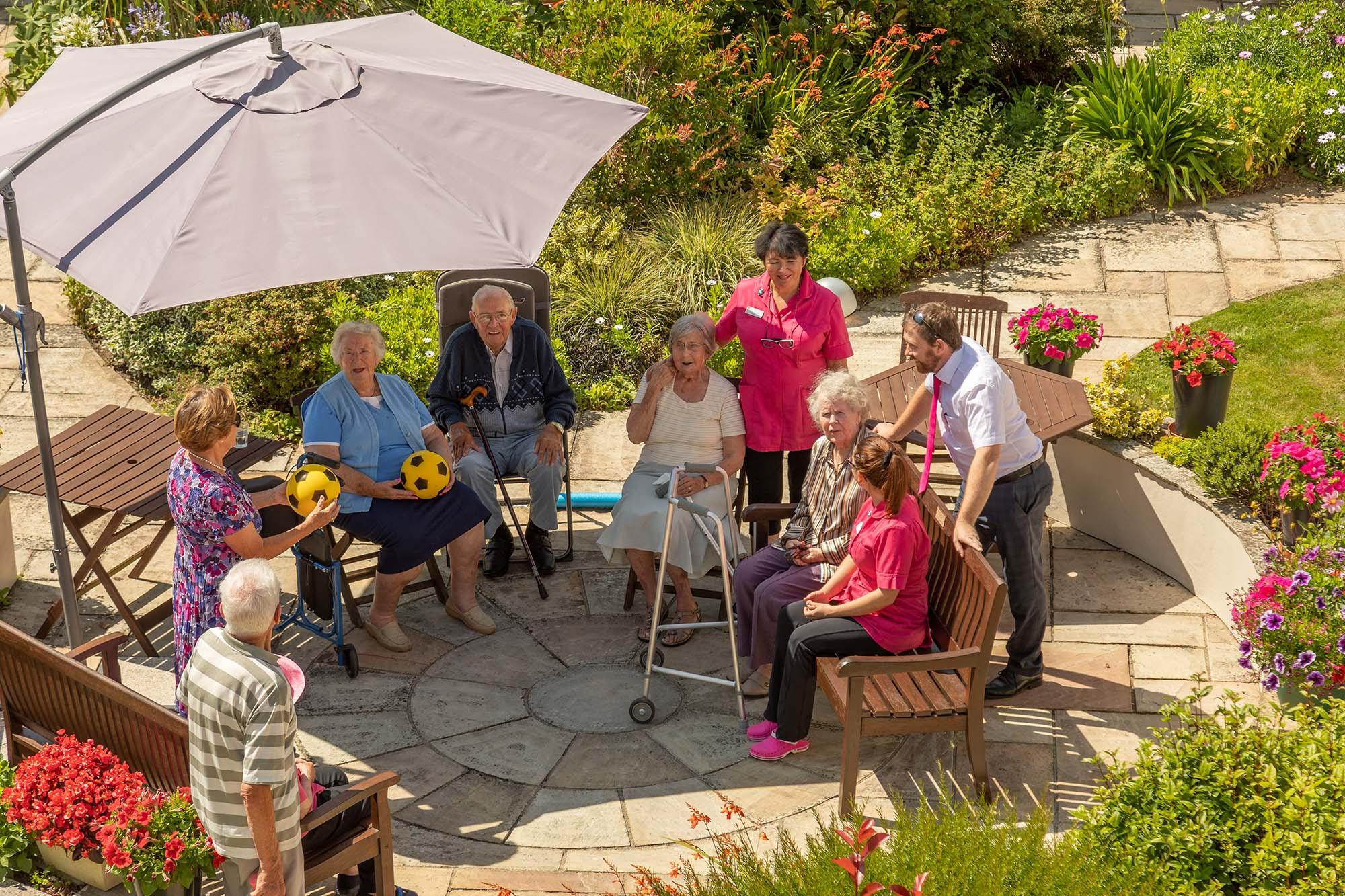 Residents sat in the garden