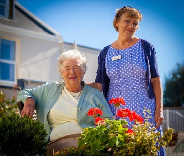 Carer and Resident in garden
