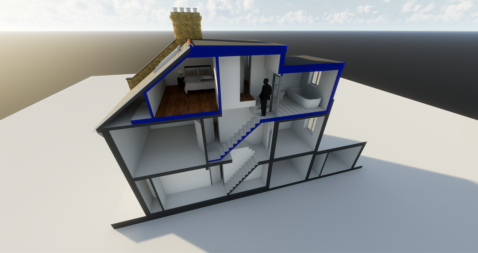 birds eye view graphic of loft conversion