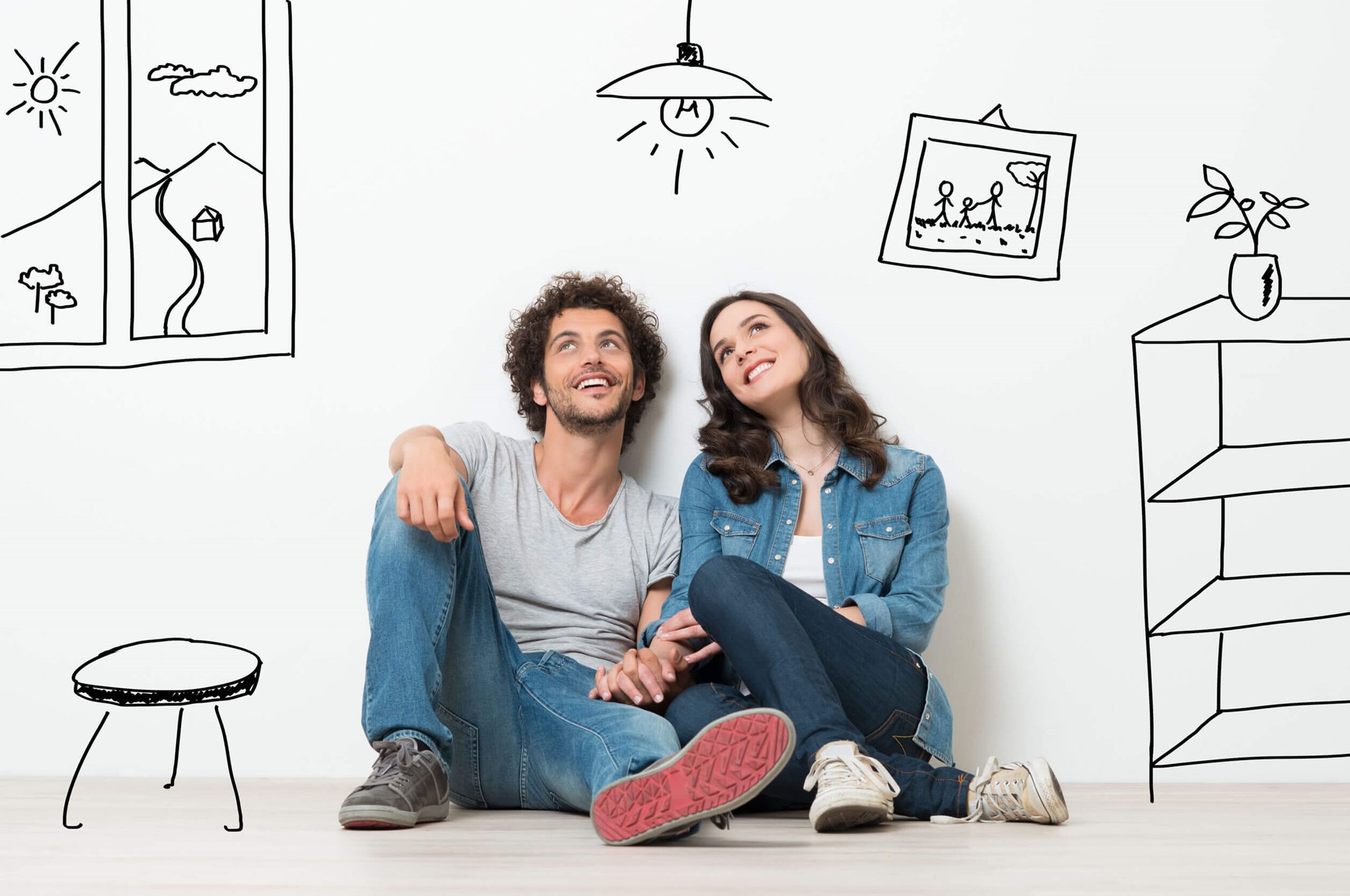 New Home Owners Sat In Pencil Drawn House
