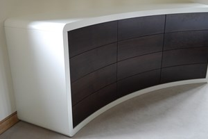 Curved Chest of Drawers with Walnut drawer fronts