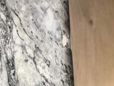 Caesarstone, Marble Worktop chip repair, before