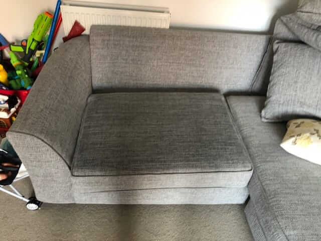 Duresta, Ink removal from seat cushion sofa, after