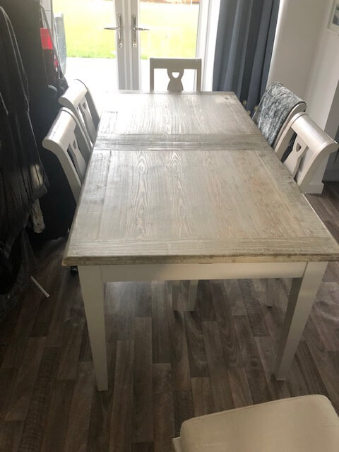 Stokers fine furnishings, Dining table leg frame repair, after