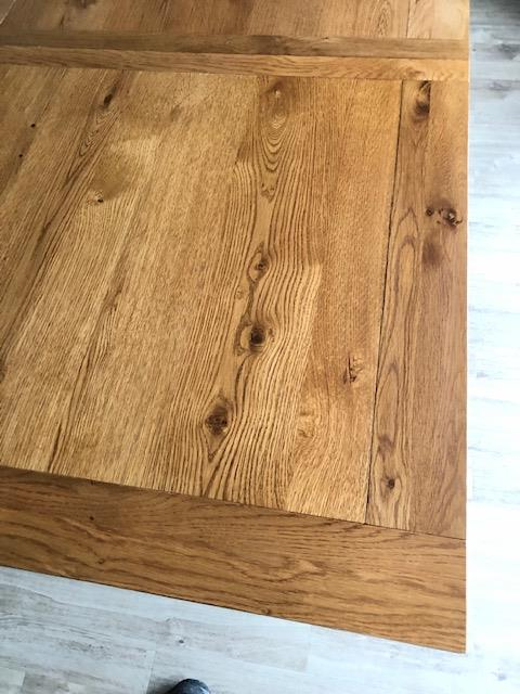 Oak furniture land, Chemical spill repair on dining table, after